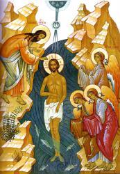 Раздача святой воды в праздник Крещения Господня